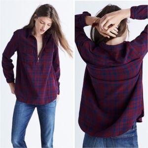 Madewell women S flannel zip-front popover shirt